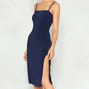 Nasty Gal navy blue dress.